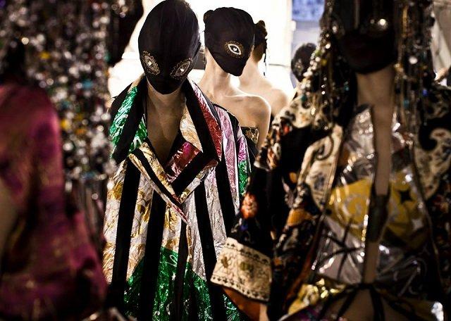 Backstage Maison Martin Margiela's Spring-Summer 2014 'Artisanal' Haute Couture show in Paris.