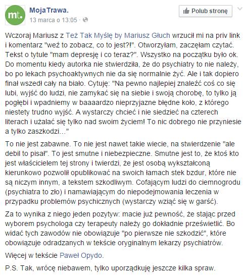 Uwagę na artykuł zwróciła również autroka bloga MojaTrawa, Ida Mokwa.