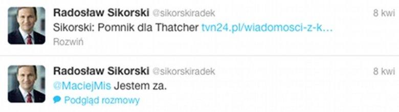 Radosław Sikorski jest zwolennikiem upamiętnienia Margaret Thatcher pomnikiem.