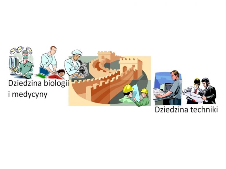 Symbolicznie wyobrażona bariera między biologią i medycyną a techniką