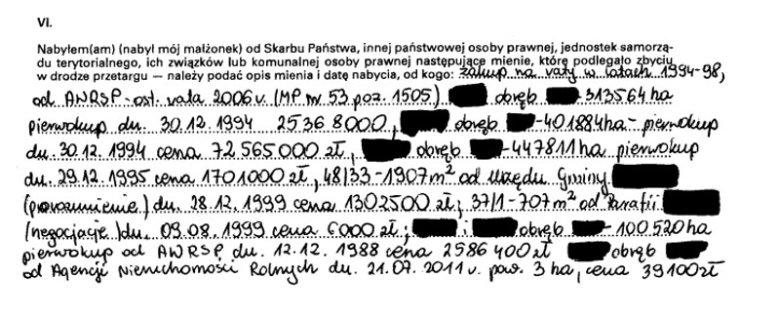 W pierwszym oświadczeniu minister Szyszko odręcznie wpisał wielkości i wartość nabytej ziemi.
