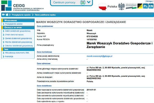 Marek Woszczyk założył działalność aby lepiej zarabiać jako prezes PGE.