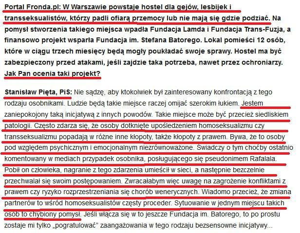 Komentarz Stanisława Pięty do informacji o mającym powstać hotelu dla homoseksualistów