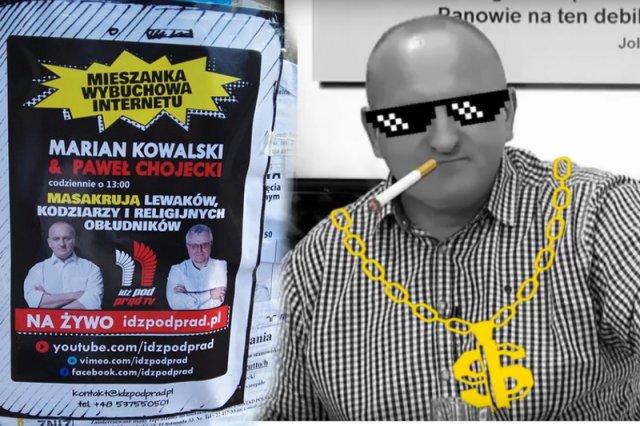 """Niedoszły prezydent Marian Kowalski i pastor Kościoła Nowego Przymierza Paweł Chojecki """"masakrują lewaków"""" w internetowej telewizji """"Idź Pod Prąd""""."""