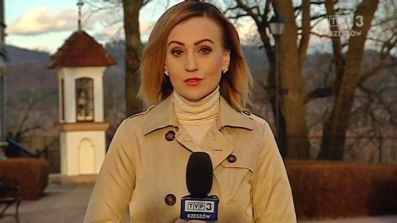 Zrzut ekranu. Na zdjęciu Anna Sabat TVP 3 Rzeszów w trakcie zapowiadania prognozy pogody