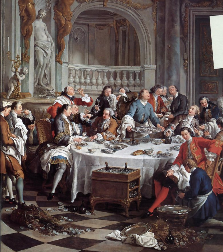 XVIII-wieczna uczta z szampanem i ostrygami.