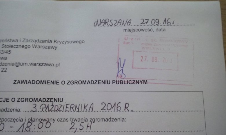 Oficjalne zgłoszenie jednego z kilkudziesięciu zgromadzeń w ramach Ogólnopolskiego Strajku Kobiet.