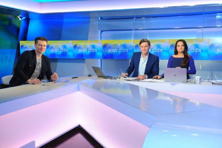 Krzysztof Ibisz i Beata Cholewińska w studiu Polsat News