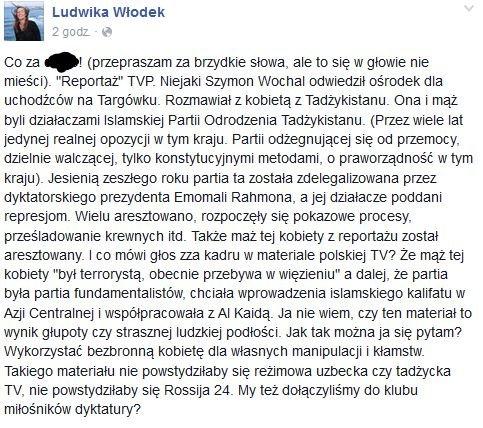 Ludwika Włodek twierdzi, że TVP zmanipulowało materiał o uchodźcach.