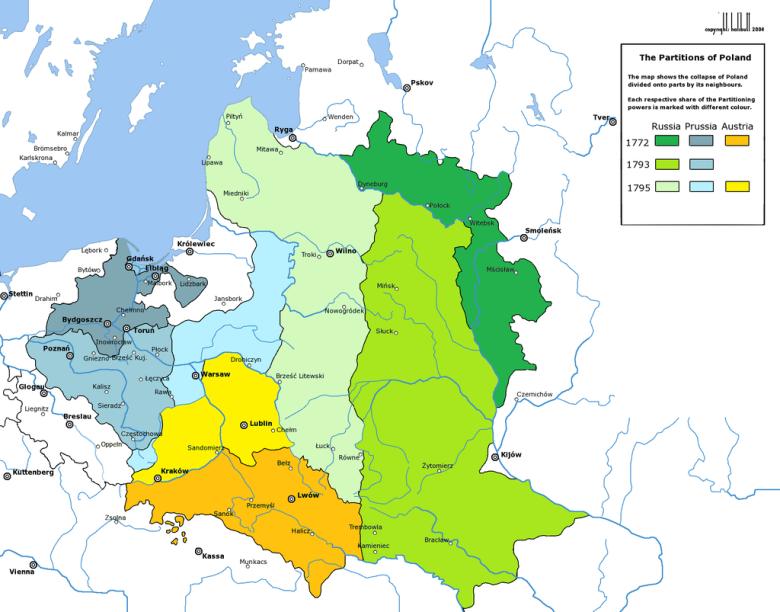 Podział terytorialny ziem polskich ustanowiony wskutek III rozbioru. Już dwa lata po nim doszło do insurekcji Deniski.