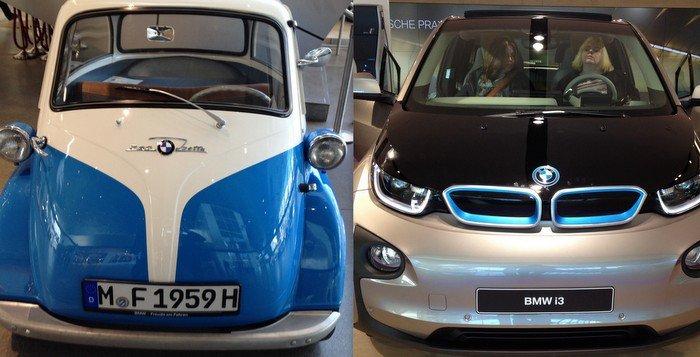Dwa oblicza miejskiej motoryzacji, BMW Isetta z lat 60' oraz najnowsze BMW i3