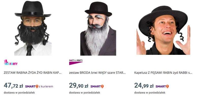 """Na największej polskiej platformie sprzedażowej nie brakuje i """"kostiumów"""" Żydów"""