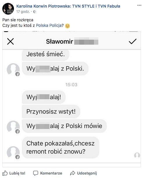 Karolina Korwin-Piotrowska pyta, czy na hejt zareaguje policja.