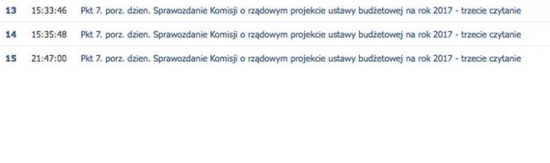 Na stronie Sejmu odnotowano tylko jedno wieczorne piątkowe głosowanie.