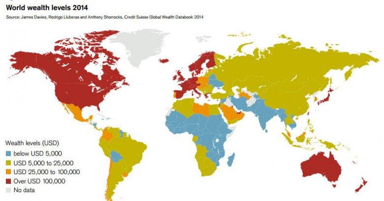 Mapa pokazująca średni majątek jednej dorosły osoby w danym kraju