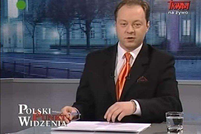 """Klaudiusz Pobudzin, dzisiaj gwiazda """"Wiadomości"""", zaczynał karierę w Telewizji Trwam."""