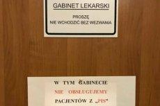 Lekarz z Rumi zamieścił na drzwiach gabinetu kartkę, na której napisał, że nie przyjmuje pacjentów z PiS.