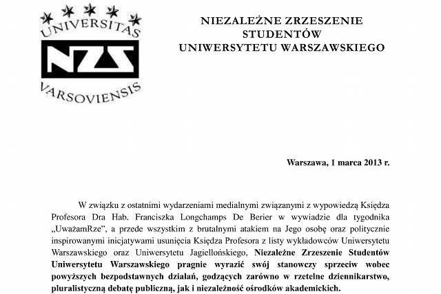 Oświadczenie Niezależnego Zrzeszenia Studentów Uniwersytetu Warszawskiego