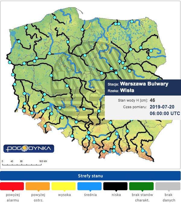 Informacje hydrologiczne IMGW –niemal w całym kraju stan wody w rzekach jest niski.