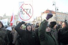 Protest przeciwko wprowadzeniu ACTA. Kraków, styczeń 2012.
