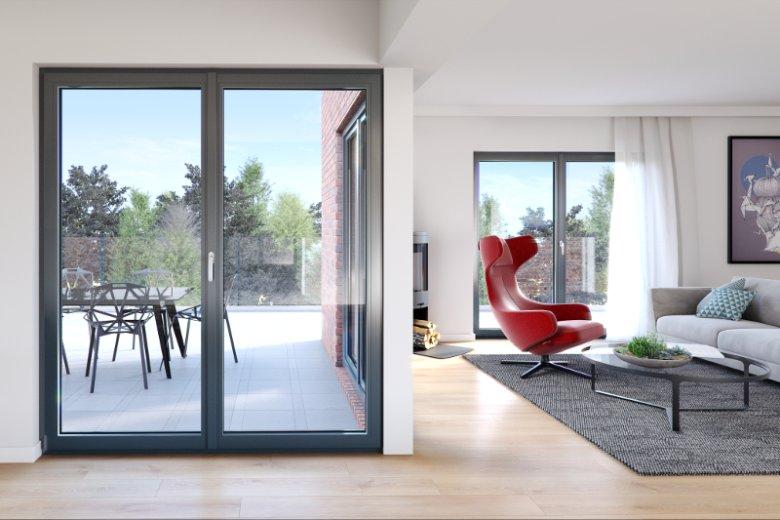 Autorskie okno OKNOPLAST charakteryzuje się nowoczesnym wąskim profilem o wyrafinowanym, kanciastym kształcie