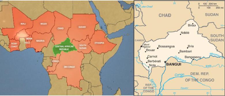 Położenie Republiki Środkowoafrykańskiej