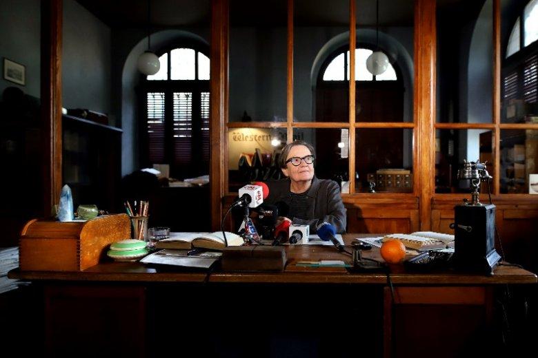 """Agnieszka Holland na konferencji dotyczącej filmu """"Mr. Jones"""""""
