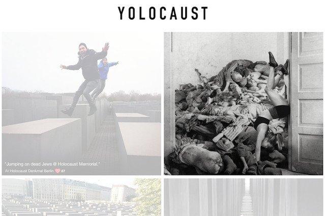 Artysta połączył zdjęcia z pomnika w Berlinie z dokumentami zbrodni.