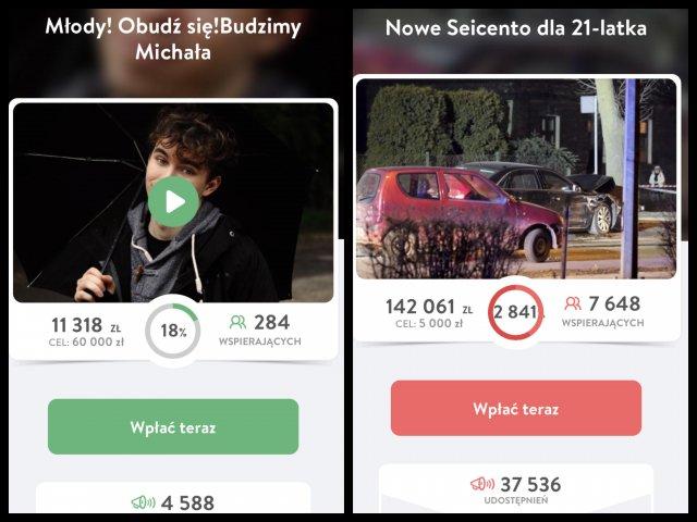 Screen zbiórki Michała Włodarskiego i zbiórki na nowe Seicento dla 20-letniego  Sebastiana z Oświęcimia.
