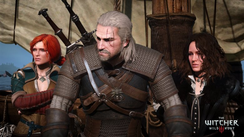 Geralt w otoczeniu Triss i Yennefer