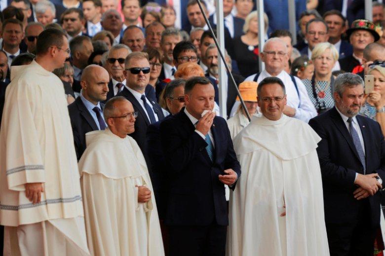 Prezydent Andrzej Duda podczas dożynek na Jasnej Górze w Częstochowie.