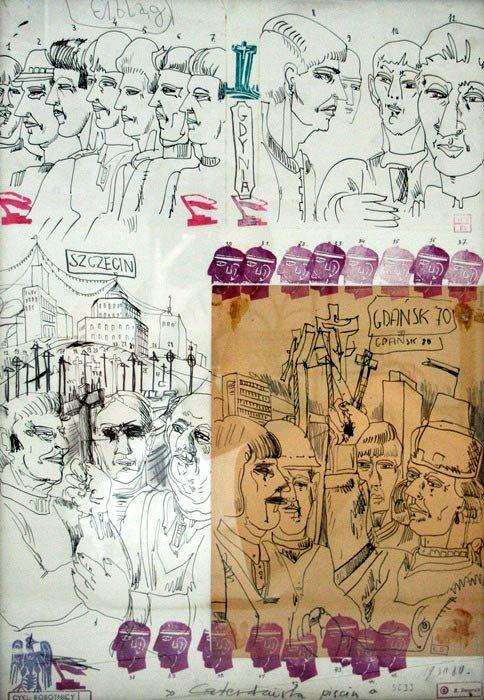 Edward Dwurnik, Czterdzisetu pięciu,  rysunek, kolaż, technika mieszana, 1981r,  kolekcja Galerii Sztuki Katarzyny Napiórkowskiej