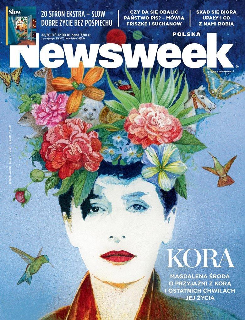 """Okładka najnowszego numeru """"Newsweeka"""". Magdalena Środa opowiedziała tygodnikowi o ostatnich chwilach Kory."""