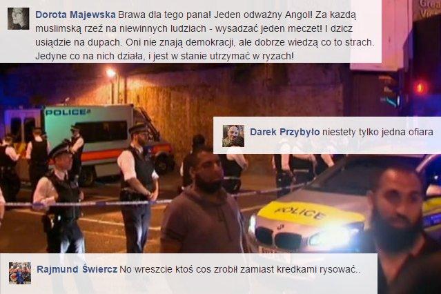 To, że ofiarami ostatniego zamachu w Londynie byli muzułmanie wśród Polaków wywołało sympatię dla terrorysty.