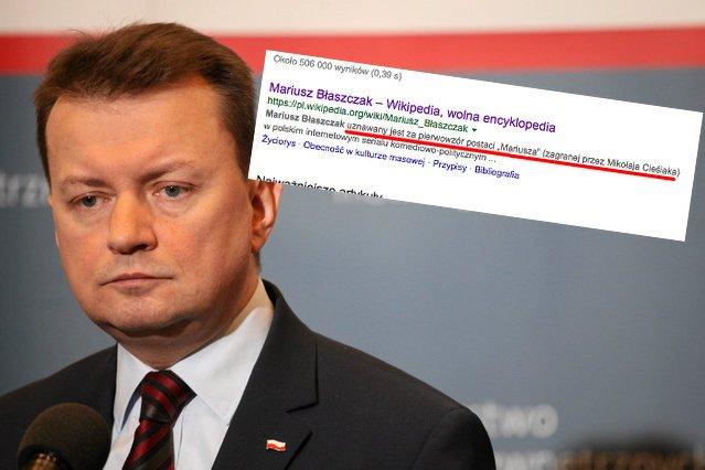 Ktoś strollował Mariusza Błaszczaka w iście genialny sposób. Jego profil na Wikipedii nie spodoba się ministrowi