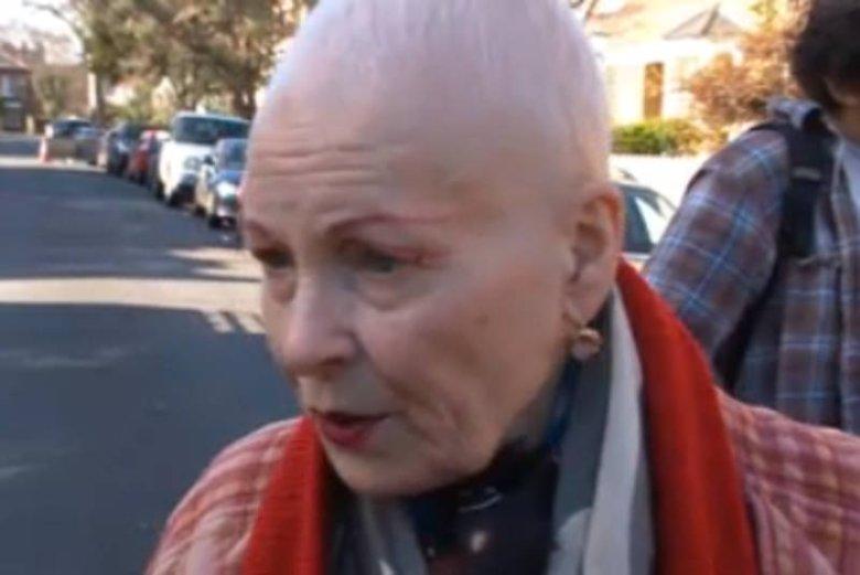 Vivienne Westwood podczas protestu/ BBC News