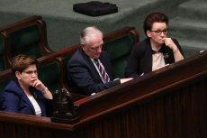 Premier Beata Szydlo , wicepremier Jaroslaw Gowin i minister edukacji Anna Zalewska.
