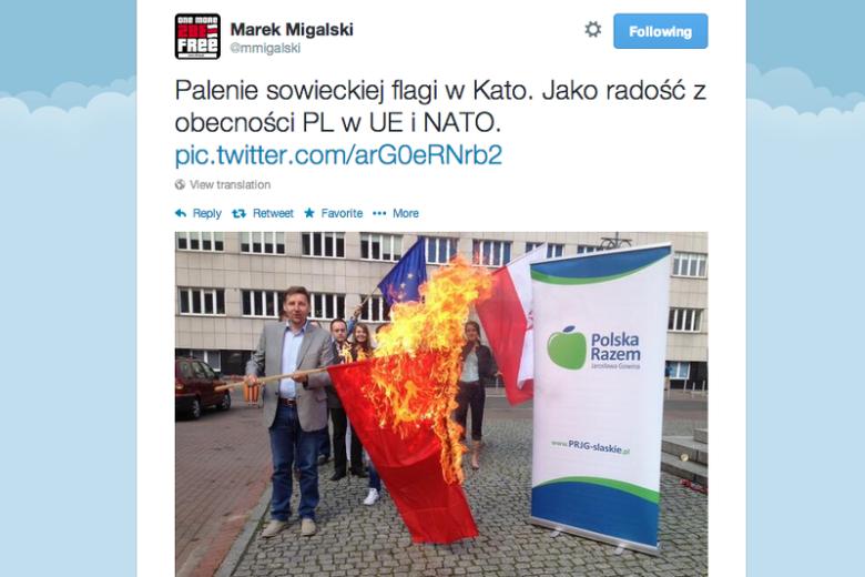 Poseł Polski Razem Marek Migalski w akcji przed majowymi wyborami.