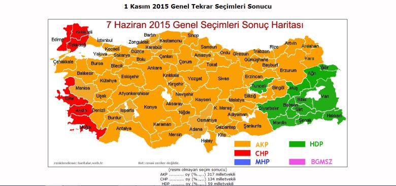 Mapa Turcji po wyborach do parlamentu (7 czerwca 2015).