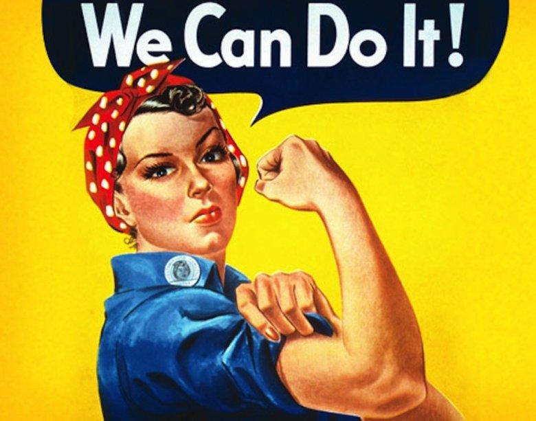 Plakat propagandowy z 1942 zaadaptowany w latach 90. przez ruchy feministyczne.
