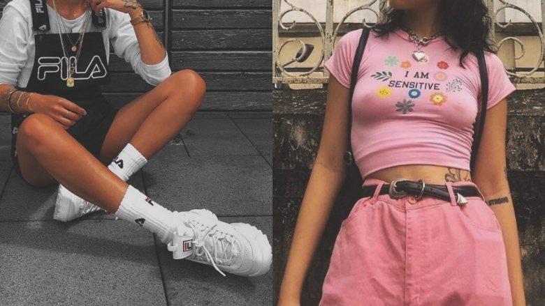 Lata 90. wracają również w stylizacjach festiwalowych. Wysoko podciągnięte skarpetki i spodnie z wysokim stanem to hit