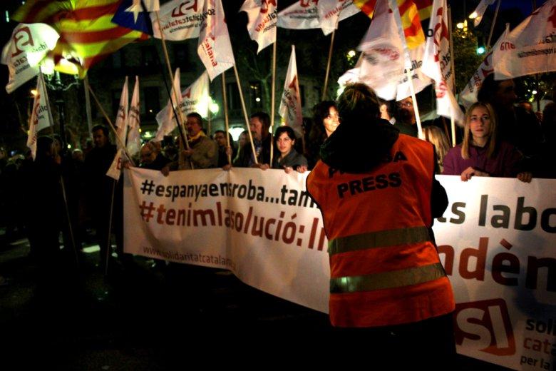 Katalończycy podczas strajku generalnego 14 listopada