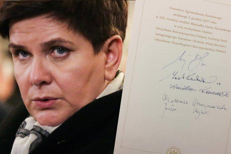 Gdzie jest podpis premier rządu?