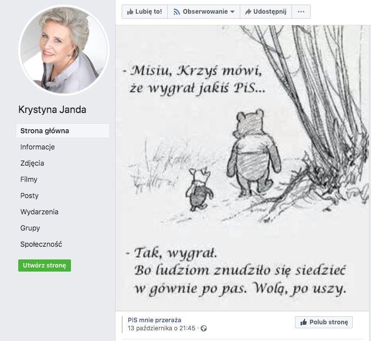 Facebookowy komentarz Krystyny Jandy do wyników wyborów.