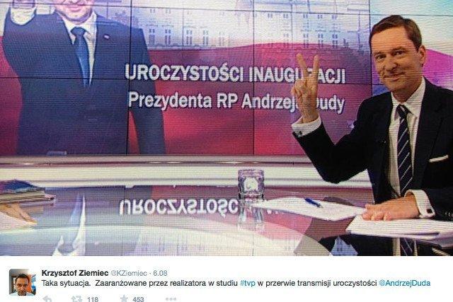 """Krzysztof Ziemiec, w reakcji na krytykę tego zdjęcia, zapewnił, iż był to tylko niewinny żart. Parę miesięcy później był jednym z nielicznych dziennikarzy """"Wiadomości"""", którzy pozostali w redakcji."""
