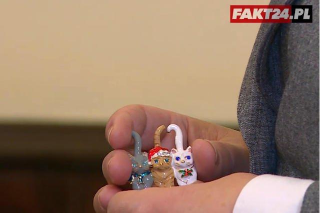 Najsłynniejsza broszka 3 koty. Czy to ukłon w stronę prezesa Kaczyńskiego? – To był ukłon w stronę kotów  – powiedziała Beata Szydło dziennikarzowi Faktu.