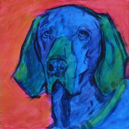 Karen Mathison Schmidt, A Dog Named Blue, olej, 2012. http://karenmathisonschmidt.blogspot.com