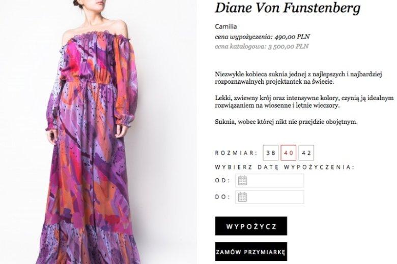 Sukienka znanej projektantki - Diane von Furstenberg kosztuje 3500 zł. Wypożyczysz ją za 490 zł