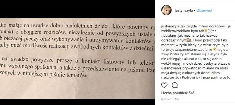 Nowy Post Justyny żyły Co Zarzuca Piotrowi żyle Na Instagramie