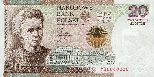 Kolekcjonerski banknot 20-złotowy z 2011 r. z wizerunkiem najsłynniejszej polskiej chemiczki i fizyczki, Marii Skłodowskiej-Curie